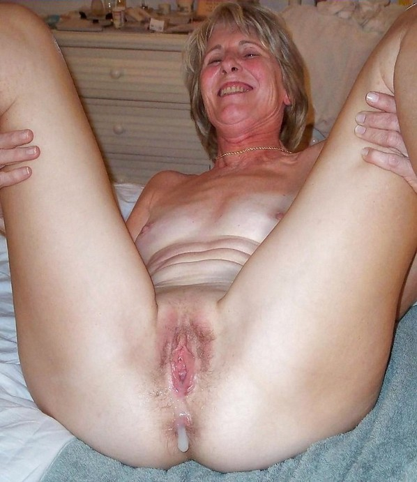 Spit roasted mature granny